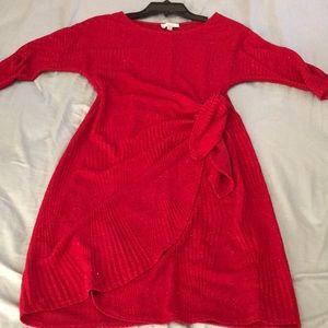 Petite Elbow- Sleeve Glitter Dress